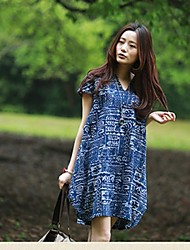 Women's Casual/Daily Plus Size Dress,Floral Above Knee Short Sleeve Blue / Beige Cotton Summer