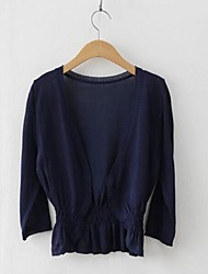 Women's Blue/White/Black/Beige Cardigan , Casual ¾ Sleeve