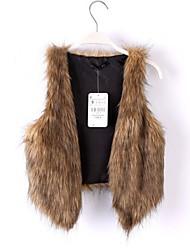 chaleco sin mangas de piel de piel falsa chaleco ocasional