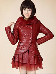 Women's Quality Detachable Fur Collar Coat Leather Skirt French Arc Coat