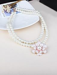 Russana Women's Flower Shape Pearl Necklace