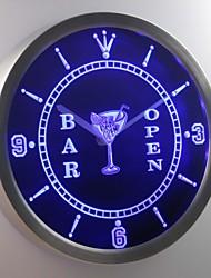 nc0447 Cocktails Bar mit Bier Wein Leuchtreklame LED-Wand Uhr