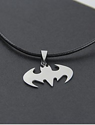 Halloween Batman (Batman) colgante de collar de cuero negro (plata) (1 pc)