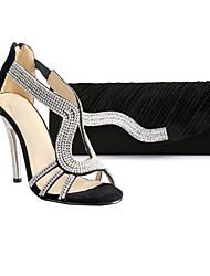 Women's Shoes T-strap Stiletto Heel Sandals Shoes Matching Evening Bag