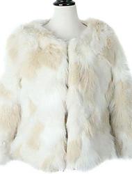 Women's South Korea Imported Originals Color Artificial Wool Coat Elegant Short Coat