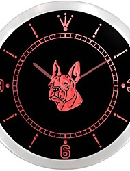 boston terrier chien pet shop enseigne au néon conduit horloge murale
