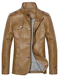 nueva moda coreano cultivando chaqueta de cuero o de los hombres