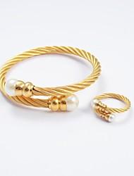 mode bracelet perle des bracelets et des pointes en acier de titane bagues en or ensembles de bijoux