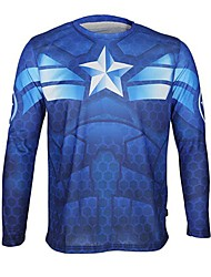 Arsuxeo Captain America Long Sleeve Cycling Jersey Quick Drying