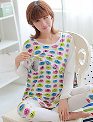 Women's Milk Silk Flowers Smiling Face Long Sleeve Confined Suits