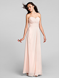 Lanting Bride Floor-length Chiffon Bridesmaid Dress Sheath / Column Sweetheart Plus Size / Petite with Criss Cross / Ruching