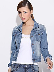 Women's Blue Denim Jacket , Casual Long Sleeve