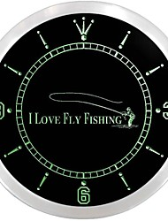 Fly Fishing Fish Shop Display Neon Sign LED Wall Clock
