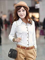 Women's Shirt Collar Tops & Blouses , Cotton Blend Sexy/Casual Long Sleeve