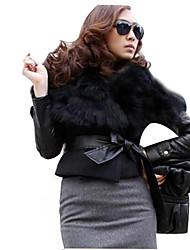 Women's Dress Shirts , Chiffon/Cotton Blend/Faux Fur/Faux Leather/Nylon/Polyester/Rayon Casual Chaoliu