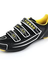 TB16-B1230 Tiebao zapatillas de ciclismo de carretera amarillo negro + con suela de fibra de vidrio y cuero pvc superior