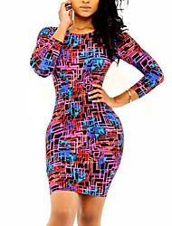 Women's Print Dress , Sexy/Bodycon/Print Round Neck Long Sleeve