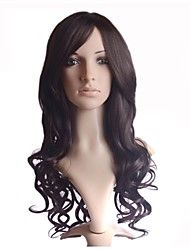 Capless Fashion Color Silky  Stylish Hair Long Wavy Synthetic Side Bang Wigs