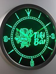 nc0295 Tiki-Bar Maske Bier Leuchtreklame LED-Wand Uhr