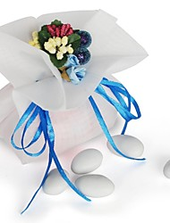 10 PCS Double Layer Cream Chiffon Wedding Favor Candy Bags Drawstring Pouch with Blue Handmade Flower