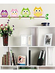 ZOOYOO®brand beautiful colorful cute owls on the branch wall sticker home decor wall stickers for kids/living room
