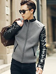 Men's Stand Collar Spell Leather Jacke Coat