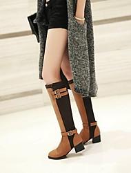 damesschoenen ronde neus dikke hak knie hoge laarzen meer kleuren beschikbaar