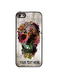 Personalized Case Skull and Flower Design Metal Case for iPhone 5/5S