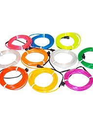 3,2 metro luz de néon flexível brilham 2,3 milímetros diâmetro do fio decorativo el com bateria 2AA