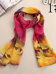 Ludy Women's Woolen Chiffon Flowers Pattern Scarf