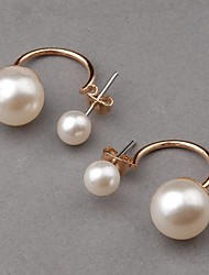 Women's Cute Alloy Imitation Pearl Ear Studs Earrings