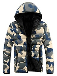 Men's Regular Parka Coat , Cotton/Polyester Print Long Sleeve