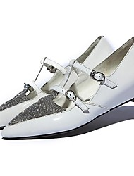 Women's Shoes Pointed Toe Low Heel Leather Flats with Buckle Shoes More Colors Available