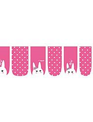 4x14pcs doce-de-rosa coelho bonito adesivos para unhas