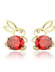 Women's Fashion  Cute Rabbit Design 18K Gold Zircon Earrings