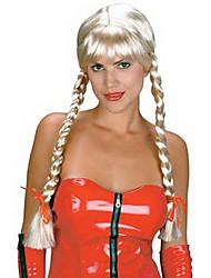 chica de campo a largo doble trenzado 65cm de oro de halloween fiesta de la peluca de las mujeres