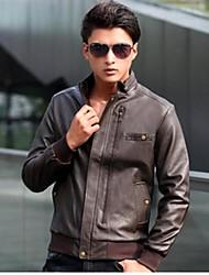 delgado de la manera breve párrafo de cuero estilo coreano de los hombres de la chaqueta de cuero de la PU