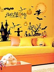 Halloween sorcière noir et citrouille stickers muraux
