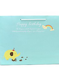 Coway 36*8.5*26 Blue and Yellow Elephant Party Paper Gift Bag Horizontal Version
