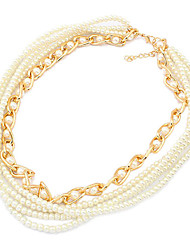 European Style Multilayer Pearl Strands Necklace(Random Color)