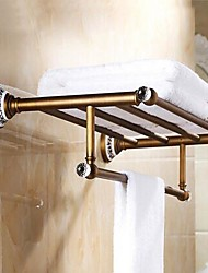 Antique Brass Bathroom Shelf With Towel Bar