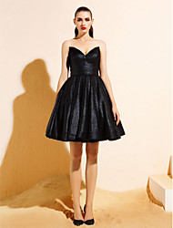 Homecoming TS Couture® Cocktail Party Dress - Black Ball Gown V-neck Knee-length Jersey