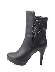 Women's Spring Fall Winter Fashion Boots Leatherette Dress Stiletto Heel Bowknot Zipper Black White Beige