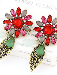 European Style Metal Exaggerated Baroque Jewel Bright Flower Leaf Earrings