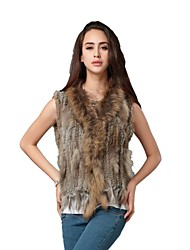 Women's Authentic Natural Knitted Rabbit Fur Vest With Raccoon Fur Collar