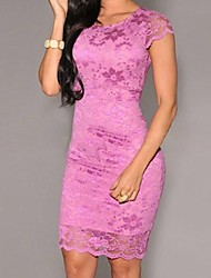 Women's Lace Blue/Pink/Yellow Dress , Sexy/Bodycon Round Neck Short Sleeve