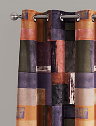 TWOPAGES® Two Panels Contemporary Artistic Warm Color Blocks Curtains Drapes