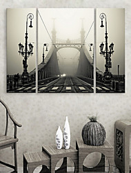 Stretched Canvas Print Art Architecture Birdge in Fog Set of 3