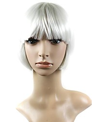 Capless Mix Color Short High Quality Natural Straight Hair Synthetic Wig with Full  Bang