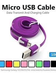 1m v8 Micro USB кабель для передачи данных с лапшой для Samsung Galaxy S5 / S4 / S3 / S2 и HTC / Nokia / Sony / LG (ассорти цветов)